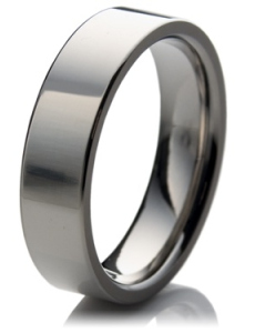 Flat court wedding ring with a polished finish