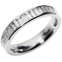 Example of a white gold eternity ring with rhodium plating